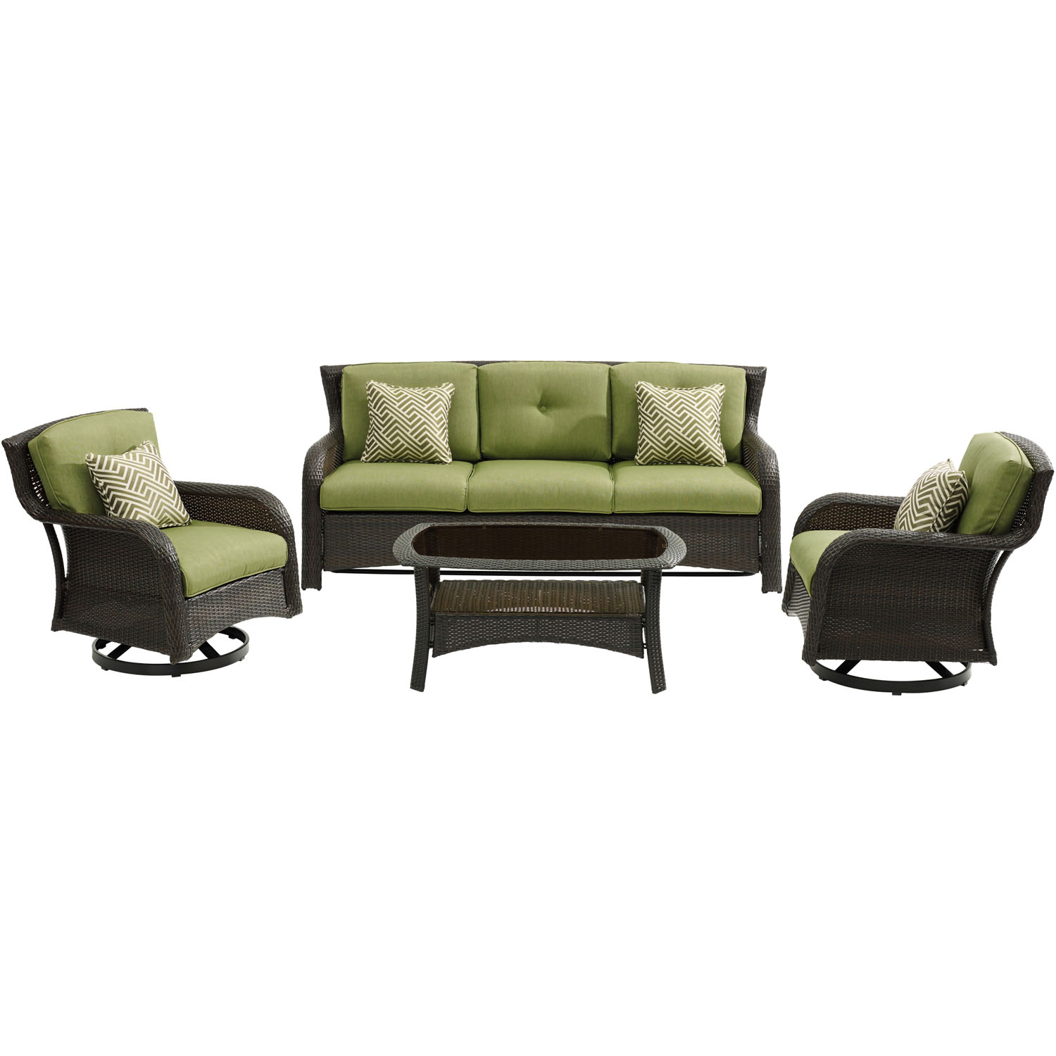 Hanover Strathmere 4-Piece Lounge Set in Cilantro Green