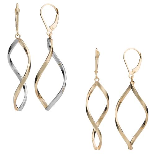 Fremada 10k Gold Twisted Marquise Leverback Earrings Two-tone