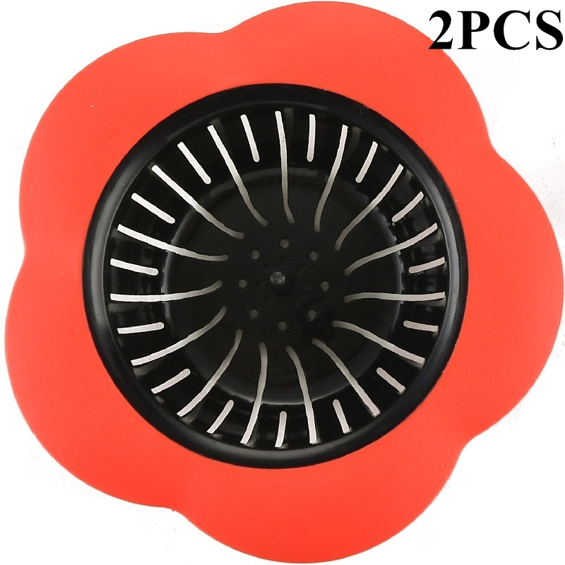2PCS Sink Strainers,Kapmore Flower Shape Anti-Clogged Plastic Sink Stoppers Baskets Drain Strainers for Kitchen