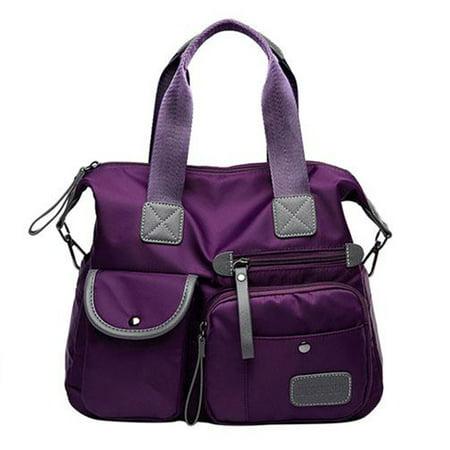 Nylon Universal Bag - Women's Handbag Waterproof Nylon Oxford cloth Large Capacity Shoulder Bag Travel Shopping Messenger Handbag Purple