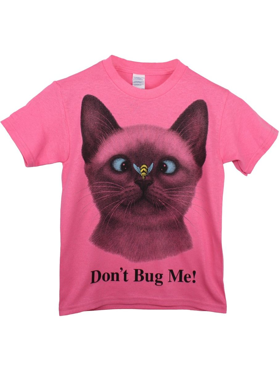 "Girls Pink ""Don't Bug Me!"" Cat Face Print Short Sleeve Cotton T-Shirt"