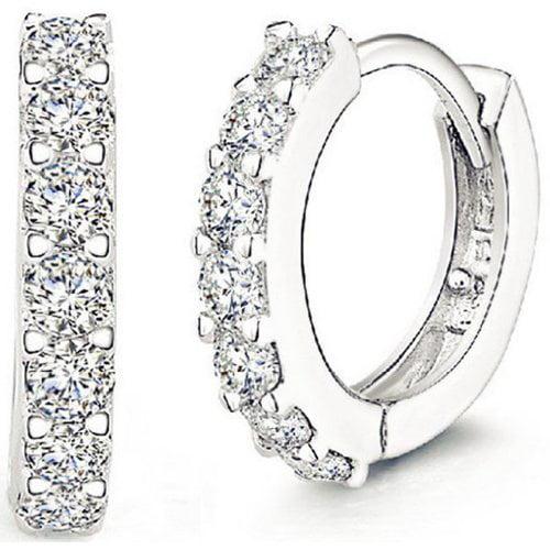 Glitz Stylish Silver-Plated Fashion Rhinestone Stud Big Hoop Earrings for Girls and Women Fancy Party Wear