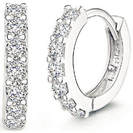 ROSE Fashion Jewelry 925 Sterling Silver Rhinestones Hoop Diamond Stud Earrings for Women (1061 Silver)