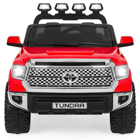 Best Choice Products 12V Kids Battery Powered Remote Control Toyota Tundra Ride On Truck w/ LED Lights, Music, Storage Compartment - Red ()