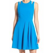 Chelsea28 NEW Blue Women's Size Small S Pleated Cutout Sheath Dress