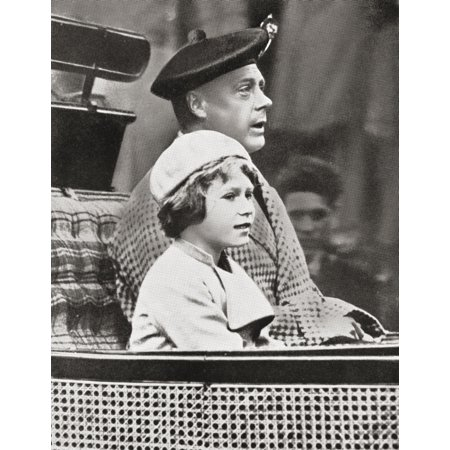 The Prince Of Wales Later King Edward Viii With Princess Elizabeth Later Queen Elizabeth Ii Returning From Crathie Church During A Visit To Balmoral Scotland In September 1933 Edward Viii - Balmoral Glass