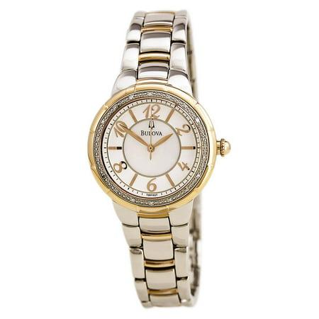 Bulova 98R162 Women's Rosedale Diamond Accented Bezel MOP Dial Two Tone Steel Watch