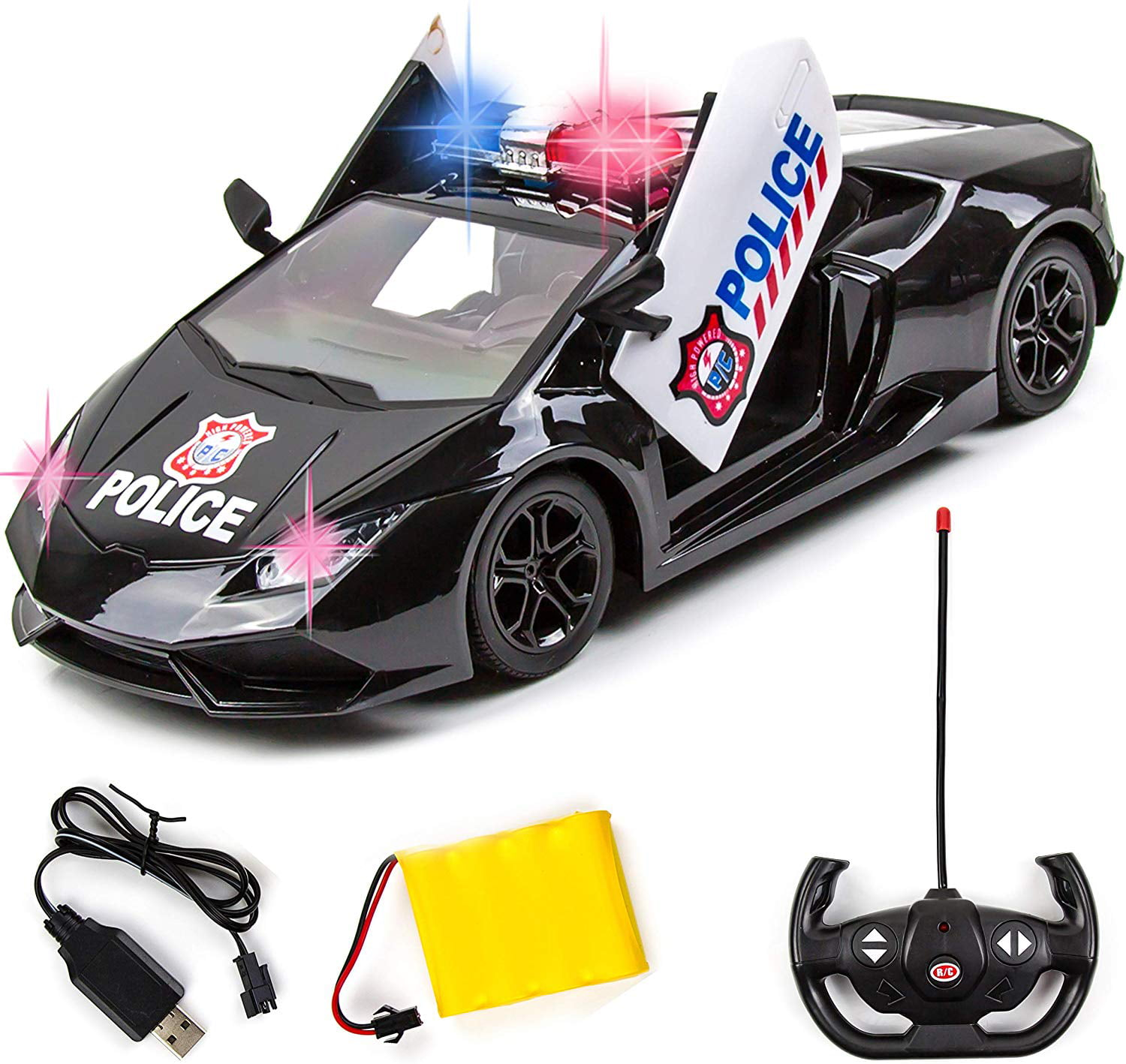Kids Toys Car Remote Control Police Cars Model Electric 3D Light Vehicle Boy Toy