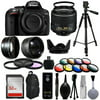 Nikon D5300 Digital DSLR Camera + 18-55mm VR II + Wide Angle with Fisheye & Macro Effects + 30 PC Accessory Bundle + 60  Tripod + 32GB + Remote + UV Filter + Telephoto Lens  + Cleaning Kit + More