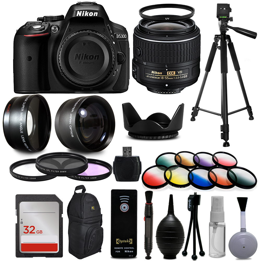 "Nikon D5300 Digital DSLR Camera + 18-55mm VR II + Wide Angle with Fisheye & Macro Effects + 30 PC Accessory Bundle + 60"" Tripod + 32GB + Remote + UV Filter + Telephoto Lens  + Cleaning Kit + More"