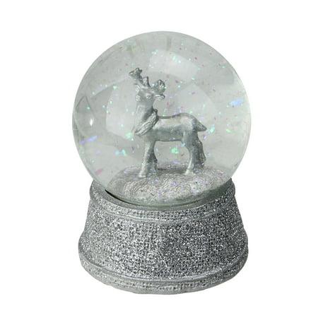 "5.5"" Silver Glittered Reindeer Snow Globe Glitterdome Christmas Decoration ()"