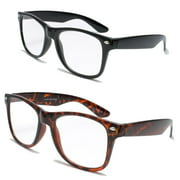 20e84bf078 2 pairs deluxe wayfarer style reading glasses - comfortable stylish simple  readers rx magnification (1