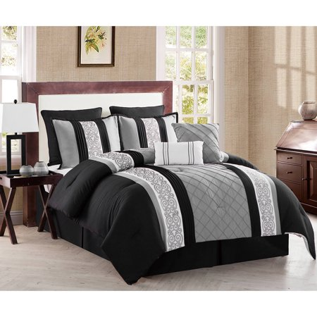 VCNY Home Farion 8-Piece Geometric Textured Stripe Bedding Comforter Set, Multiple Colors Available ()