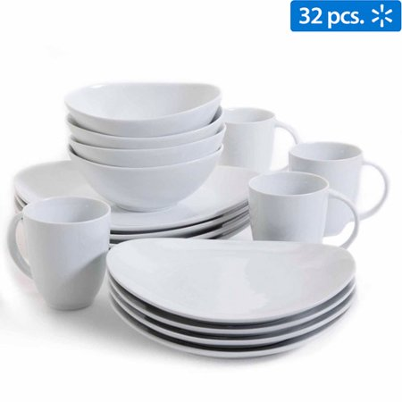 Gibson Studio Bistro Dining 32-Piece Oval Dinnerware Set, White