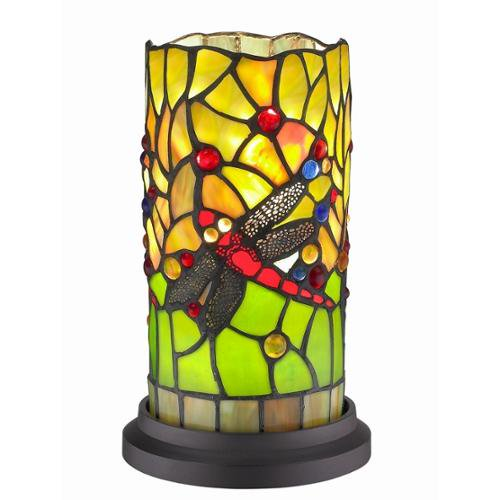 Amora lighting dragonfly handcrafted stained glass tiffany style mini table lamp