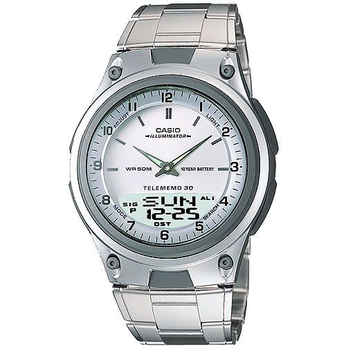 Casio Watch with Metal Band, White
