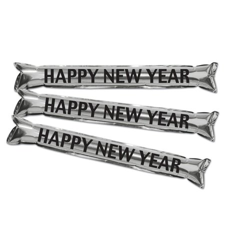Club Pack of 24 Silver and Black New Year's Eve Inflatable
