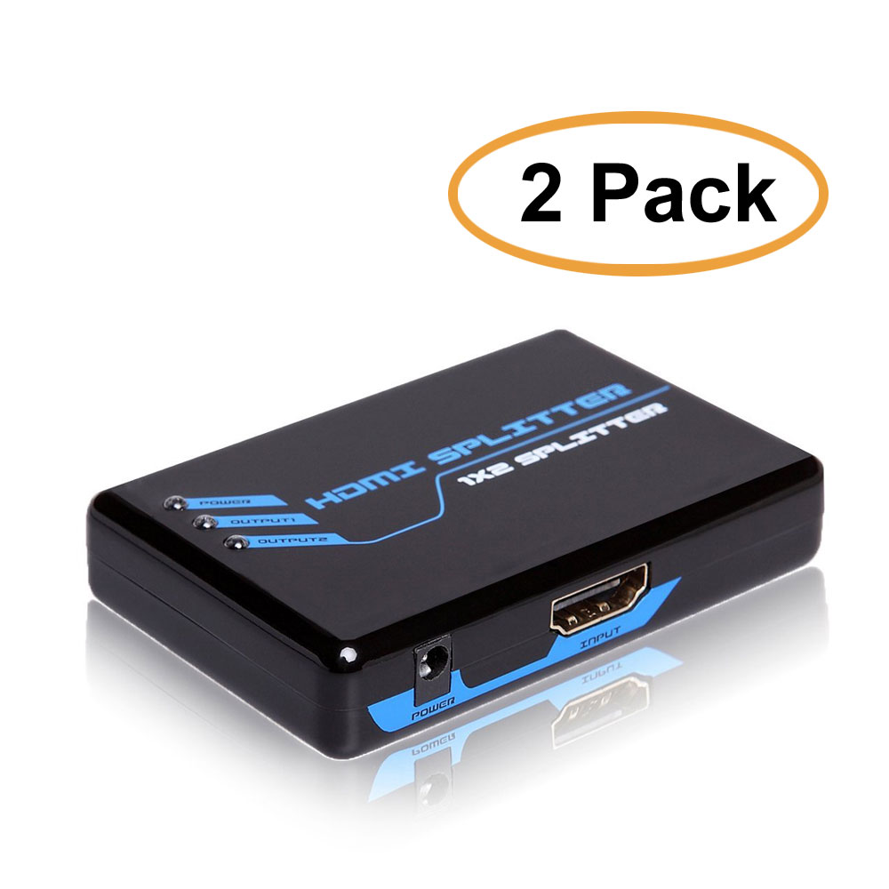 C&E HDE HDMI Splitter Amplifier 1 In to 2 Out Dual Display, 2 Pack
