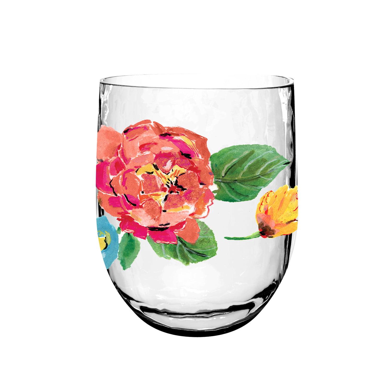 Life Happens Garden Floral Plastic Cup, Set of 6