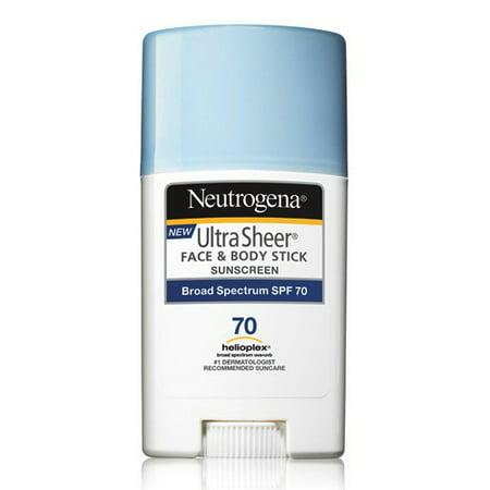 Neutrogena Ultra Sheer Face And Body Spf 70 Sunscreen Stick   1 5 Oz  3 Pack