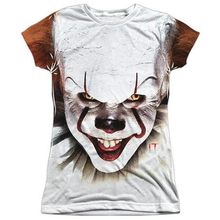 Trevco Sportswear WBM877-JSPP-3 It & Pennywise at Large Junior Short Sleeve Poly Crew T-Shirt, White - Large - image 1 de 1