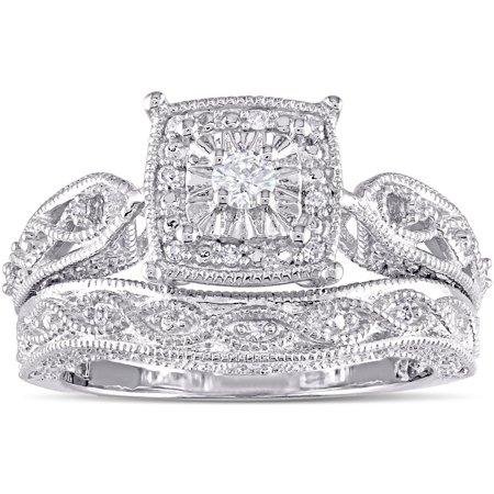 - Miadora  Sterling Silver 1/5ct TDW Diamond Milgrain Engagement Ring Set