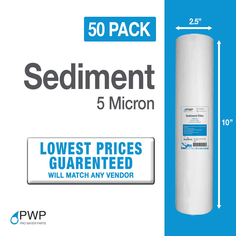 50Pack 5Mic Sediment Water Filter Cartridges Whole House REVERSE OSMOSIS 10x2.5