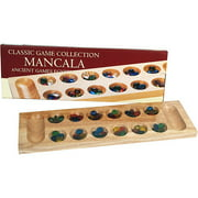 Classic Games Collection Deluxe Wood Mancala With Glass Beads