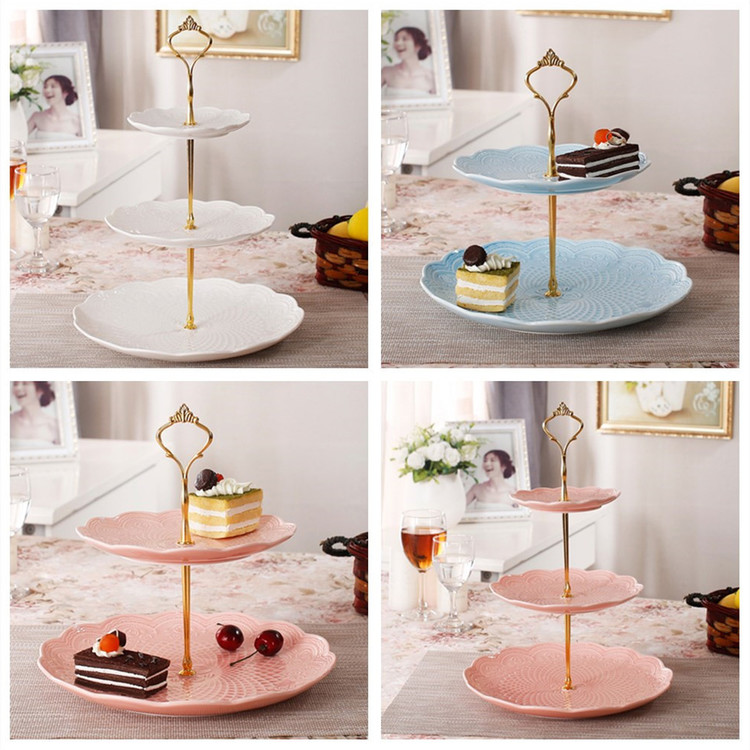 3 Tier Hardware Crown Cake Plate Stand Handle Fitting Wedding Party Golden Plated Decorating Stand Platform & Cake Plates