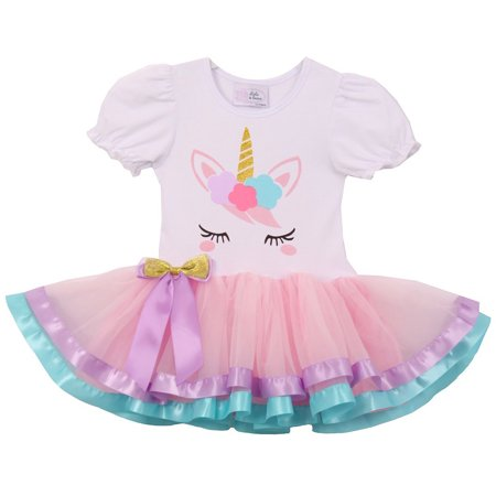 Little Girl Cute Short Sleeve Satin Tutu Birthday Summer Unicorn Skirt Dress Pink S CC 1906 BNY Corner - Hot Pink Girl Dresses