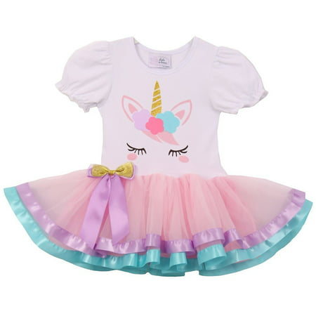 Cheap Cute Dress (Little Girl Cute Short Sleeve Satin Tutu Birthday Summer Unicorn Skirt Dress Pink S CC 1906 BNY)