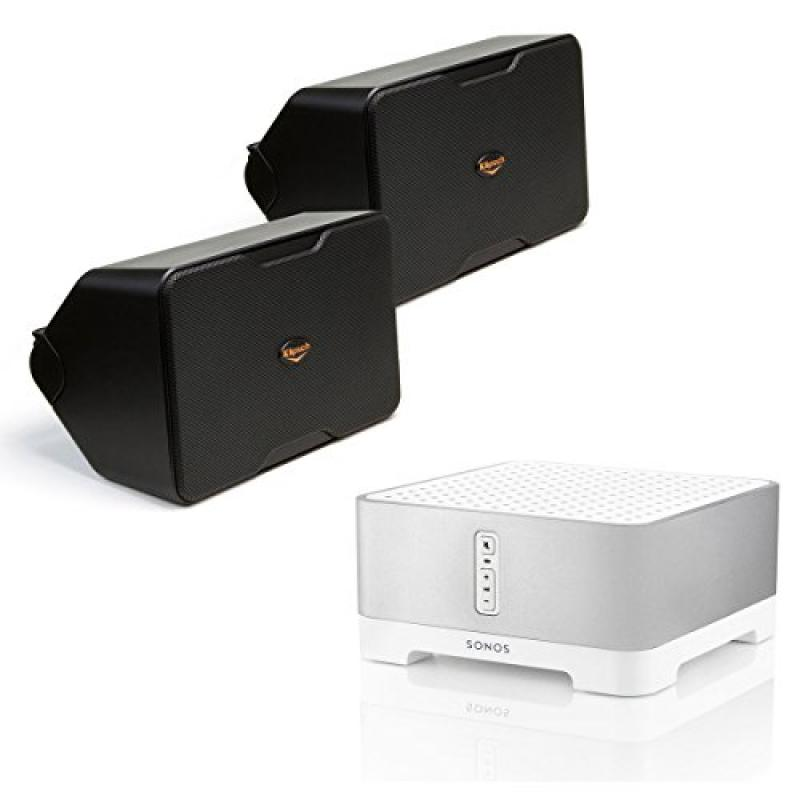 Sonos CONNECT:AMP Wireless Hi-Fi Player with Klipsch CP-6 Compact Performance Series Outdoor Loudspeakers Pair (Black) by Sonos