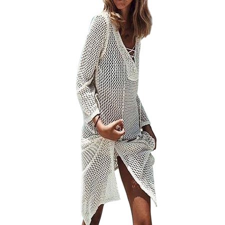 5a352183572 Sexy Dance - Boho Beach Cover Up Tops Women Hollow Out Lace up V Neck Loose  Tops Beachwear Long Sleeve Summer Swimwear Bathing Suit - Walmart.com