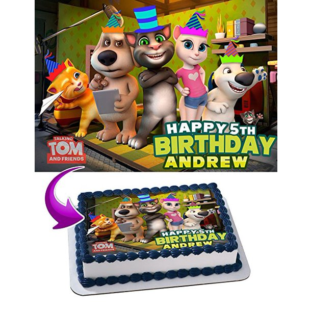 Brilliant Talking Tom And Friends Birthday Cake Personalized Cake Toppers Funny Birthday Cards Online Fluifree Goldxyz