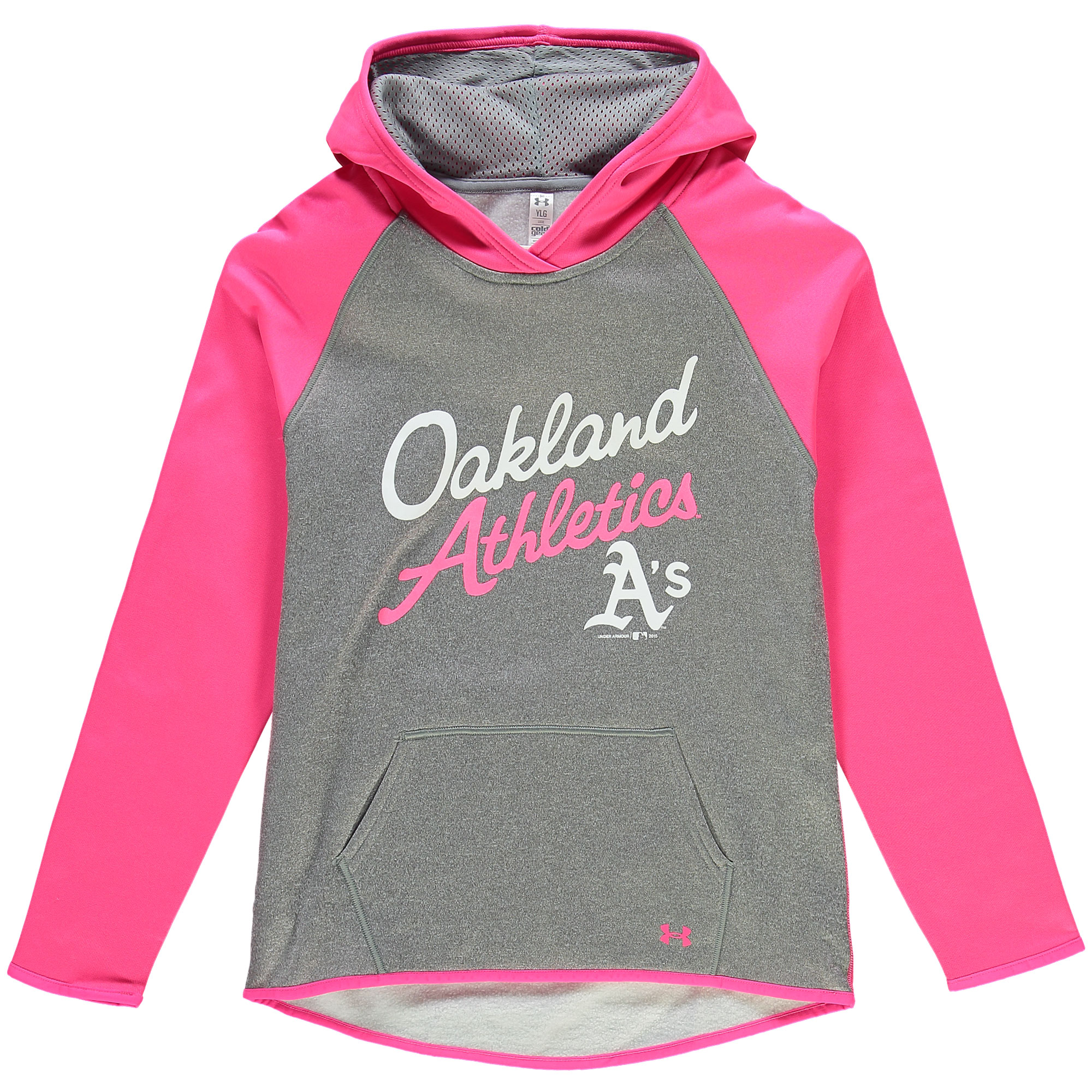 Oakland Athletics Under Armour Girls Color Blocked Performance Hoodie - Gray/Pink