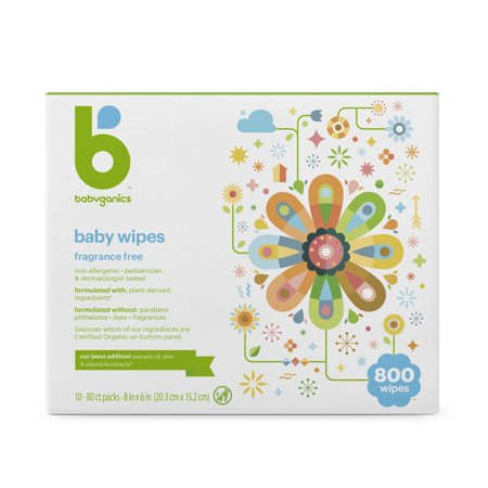 Babyganics Face, Hand & Baby Wipes, Fragrance Free (800