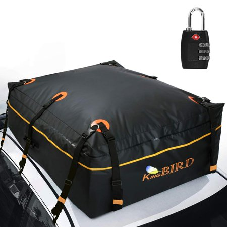 KING BIRD 100% Waterproof Rooftop Cargo Carrier Bag with Built-in Protective Mat, Car Top Carrier with External Non-Slip Mats for All Vehicles with/Without