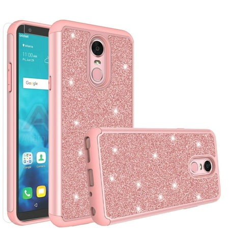 LG Stylo 4/LG Stylo 4 Plus Case, Glitter Shock Proof [HD Screen Protector]  Hybrid Protective Phone Case Cover - Rose Gold