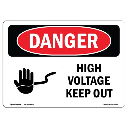 Danger High Voltage Tabs - OSHA Danger Sign - High Voltage Keep Out 5