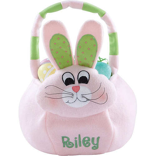 Personalized Plush Easter Basket, Pink Bunny