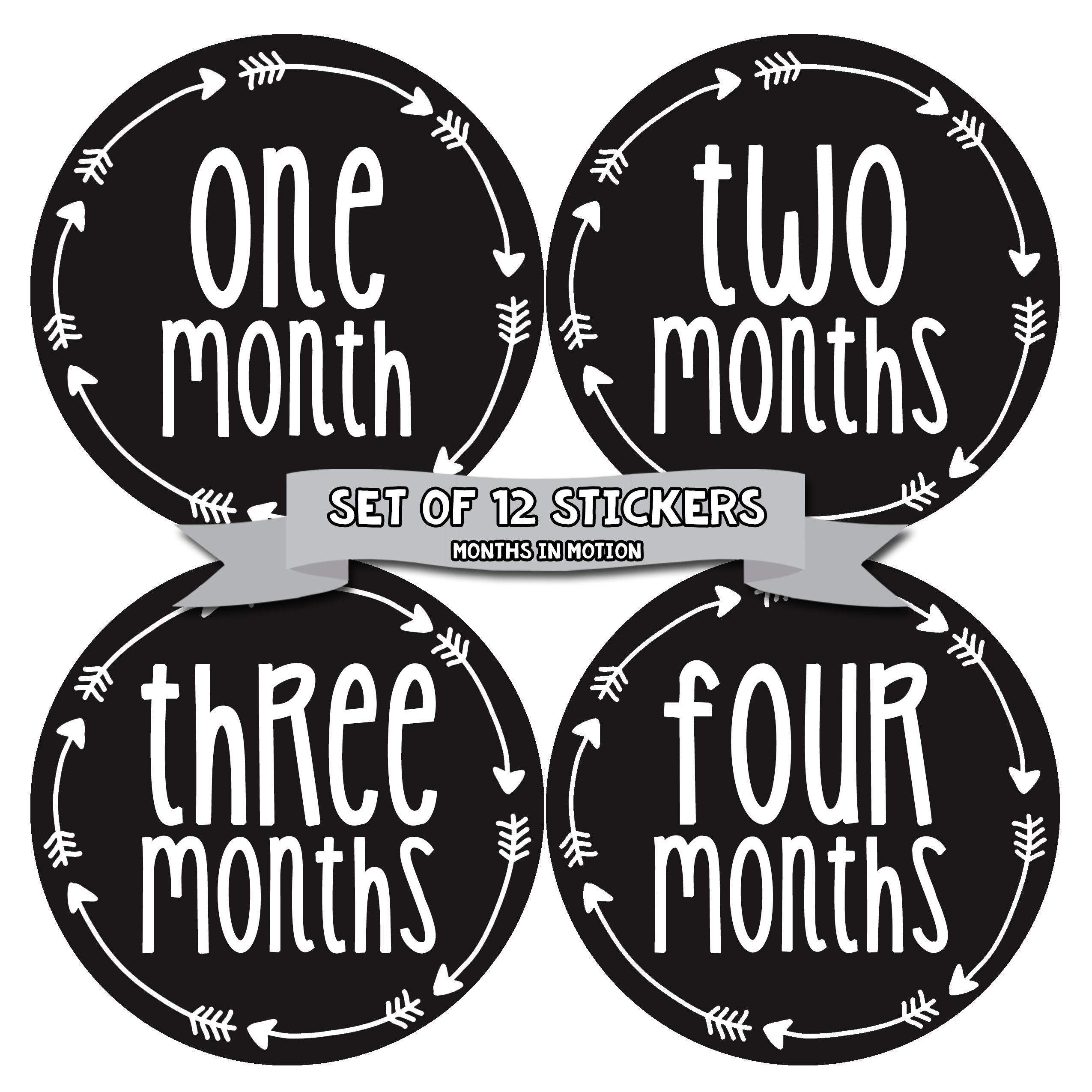 Months in Motion 1027 Monthly Baby Stickers Baby Boy or Baby Girl Milestone sticker