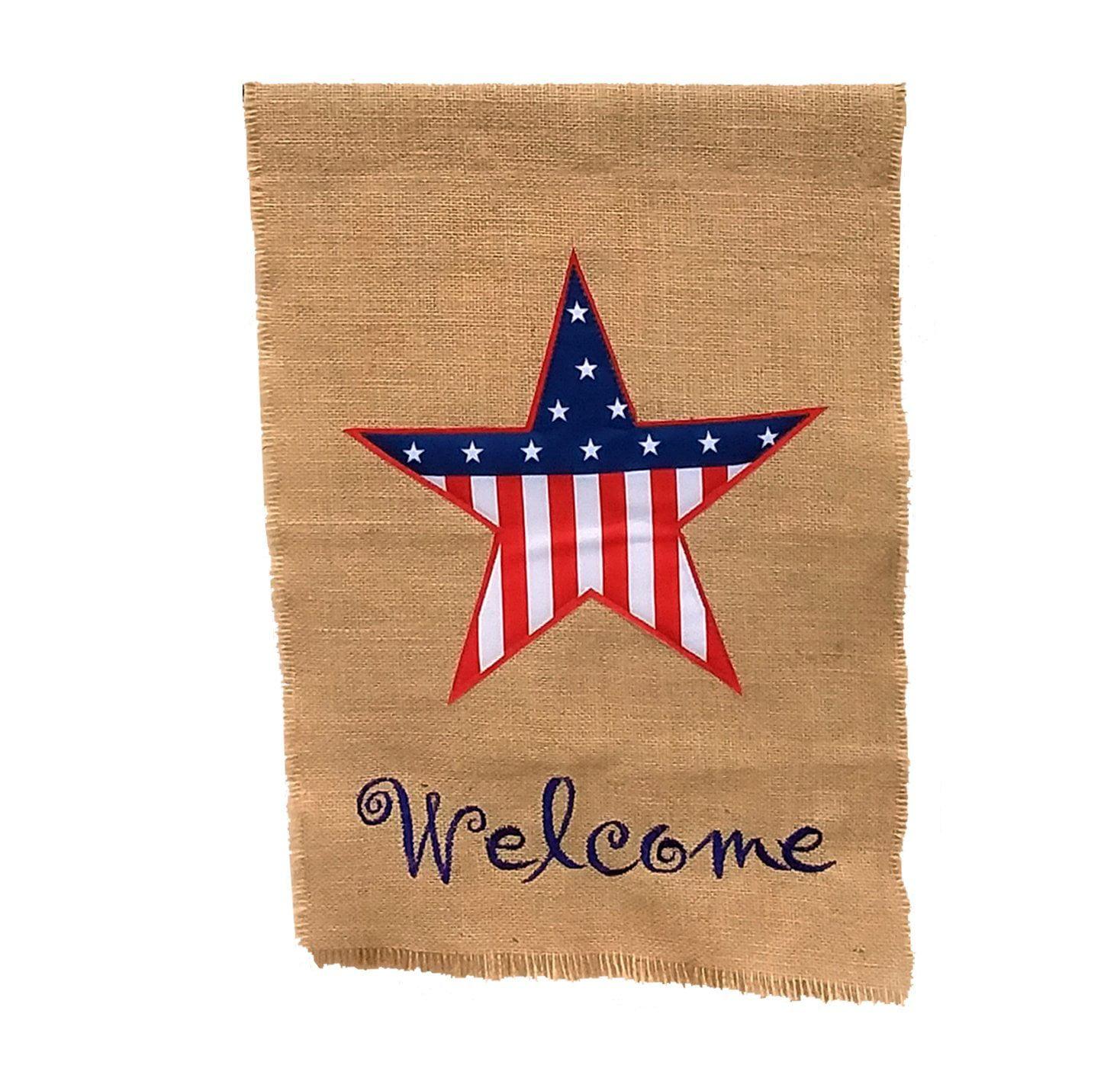 "GiftWrap Etc. Small Patriotic Burlap Garden Flag - 4th of July, Summer Yard Decor, Rustic Lawn Decorations, Decorative Porch Flag, Stars & Stripes, Mini 12"" x 18"