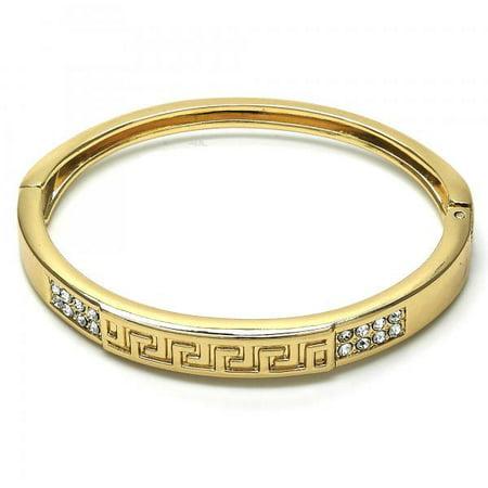 Fashion Cutout Greek Key Gold Plated Women Latch Bangle, By Folks -