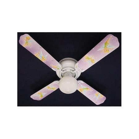 Purple Disney Tinkerbelle Print Blades 42in Ceiling Fan Light Kit