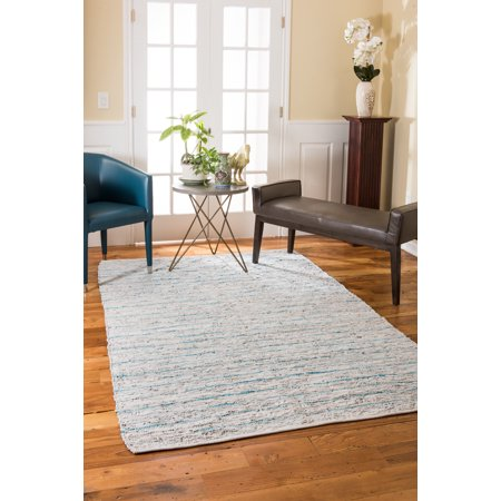 NaturalAreaRugs Beckham Leather Area Rug, Imported, 90% Leather and 10% Cotton, Anti-Static, Durable, Stain Resistant, Eco/Environment-Friendly, (5 Feet x 8 Feet) (Durable Cotton Rug)