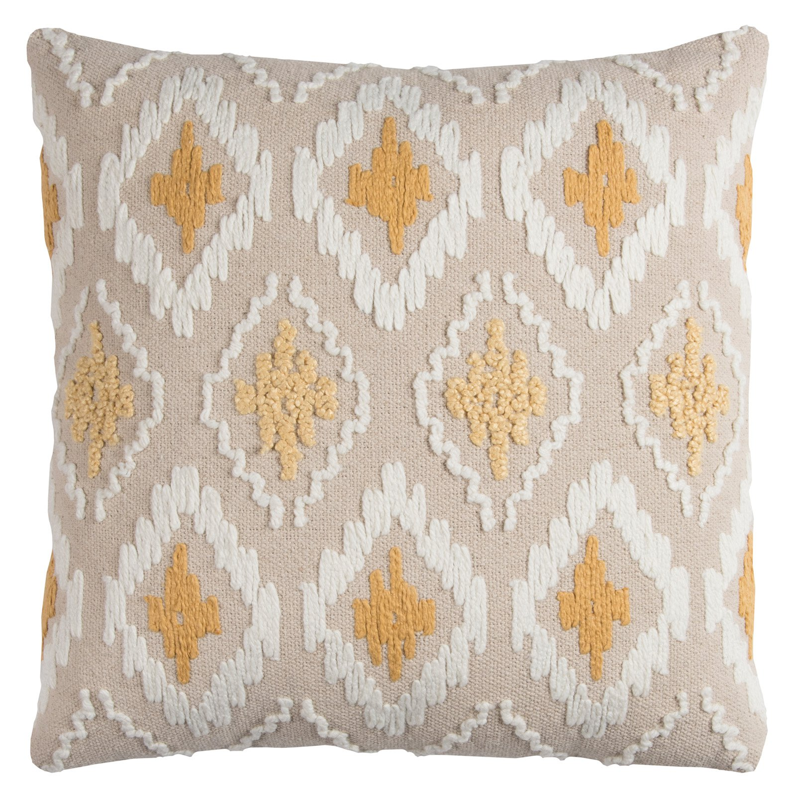 "Rizzy Home Decorative Poly Filled Throw Pillow Ikat Diamonds 20""X20"" Gold"