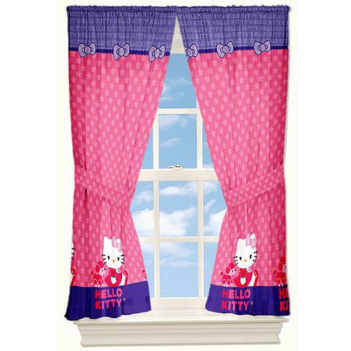 Hello Kitty Microfiber Star Kitty Curtain Panels, Set of 2