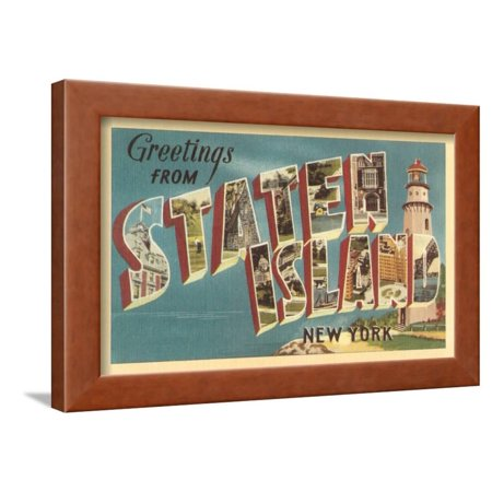 Totem 12' Brown Island Decor - Greetings from Staten Island, New York Framed Print Wall Art