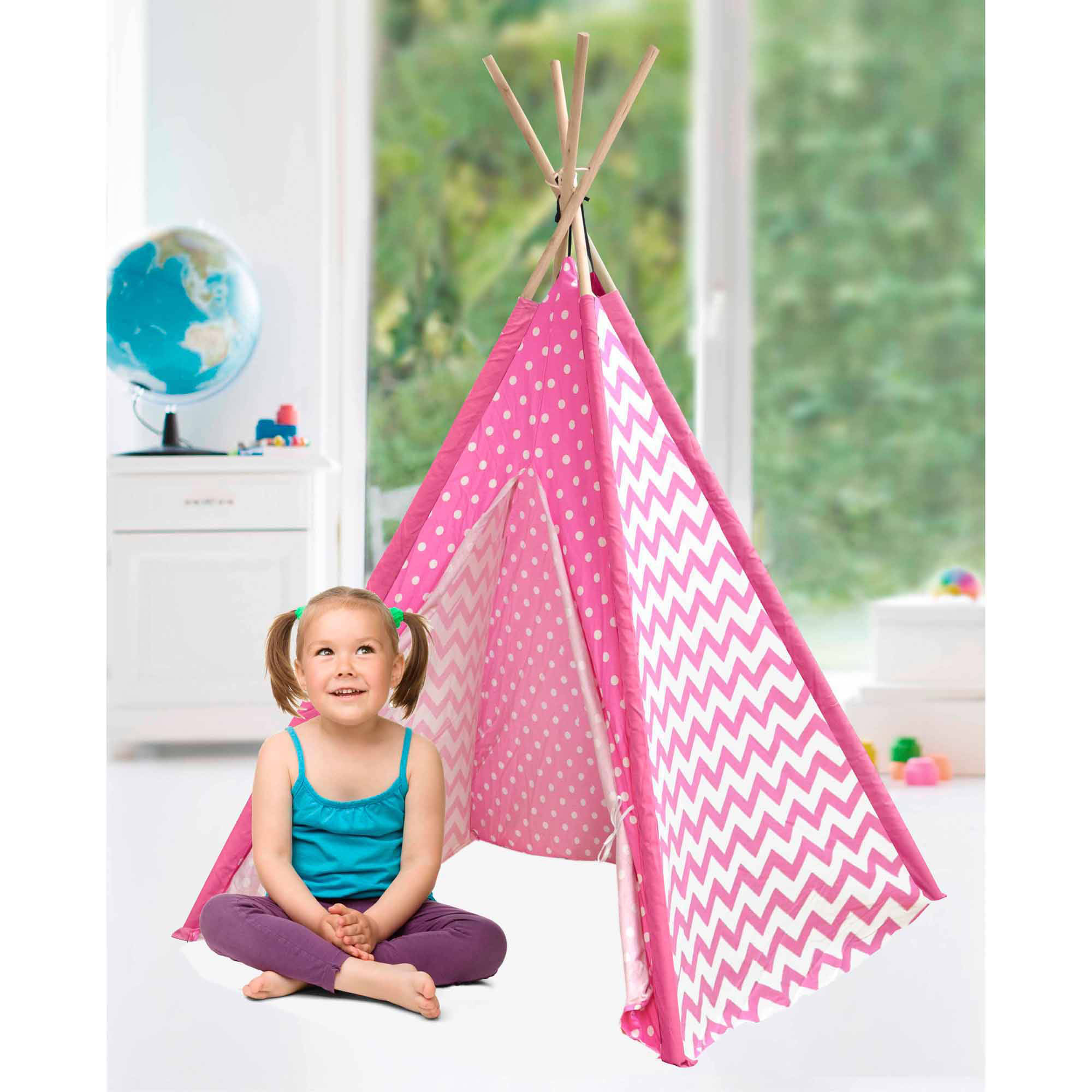 American Kids Awesome Tee-Pee Tent, Pink Chevron Dot by Idea Nuova