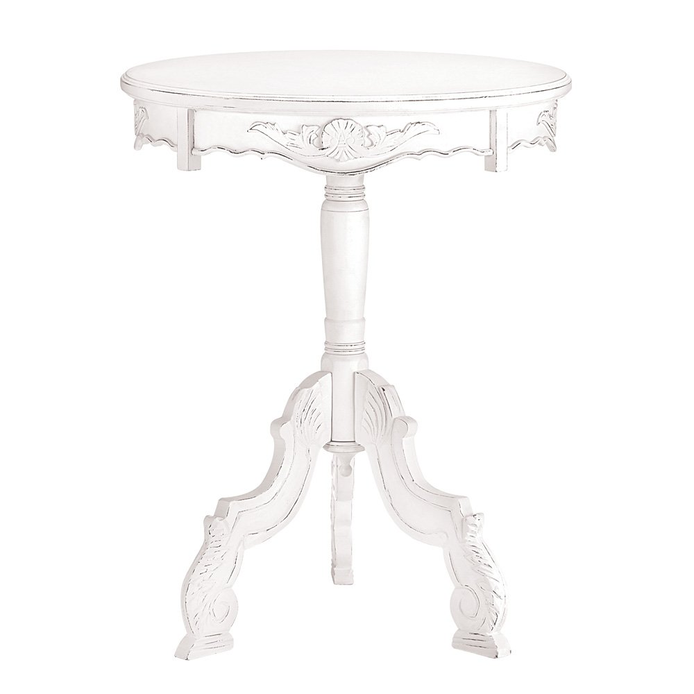 Vintage Style Accent Table, Wooden RoCoco Style Round White Accent Table by Accent Plus